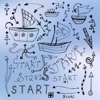 Ensemble de flèche multishape, navire doodle et lettrage