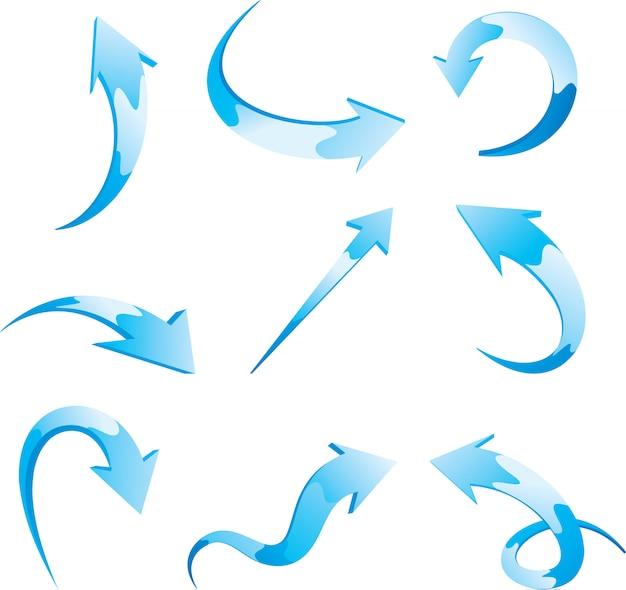 Ensemble de flèches bleues vectorielles