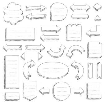 Ensemble de flèches et cadres noirs dessinés à la main pour cartes mentales
