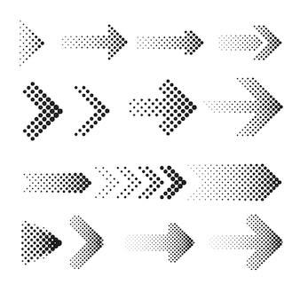 Ensemble de flèches en demi-teintes en pointillé