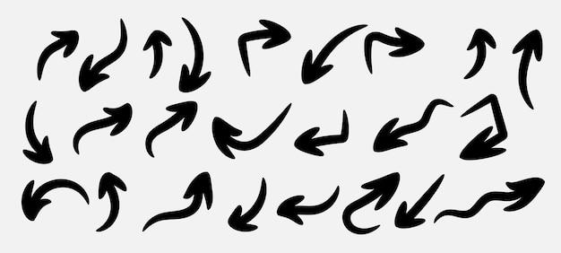 Ensemble de flèches de dessin à la main