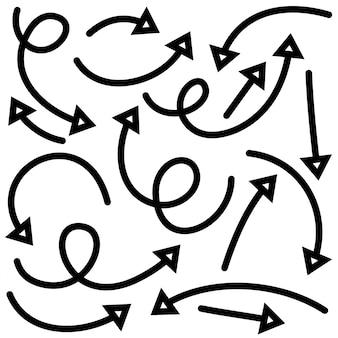 Ensemble de flèches dessinées à la main. éléments de conception de doodle.