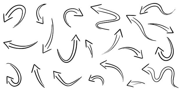 Ensemble de flèches dessinées à la main isolés sur fond blanc. pour l'infographie d'entreprise, la bannière, le web et la conception de concept. éléments de conception de griffonnage vectoriel.