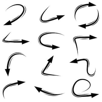 Ensemble de flèches dessinées à la main