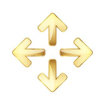Ensemble de flèches dorées brillantes. illustration vectorielle.