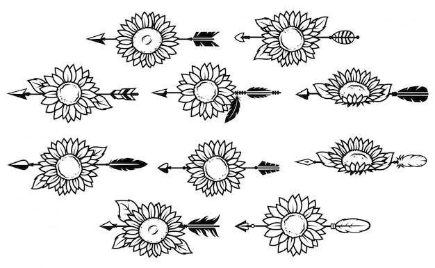 Ensemble de flèches indiennes avec des fleurs
