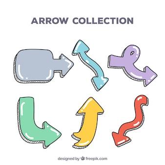 Ensemble de flèches à marquer dans un style dessiné à la main