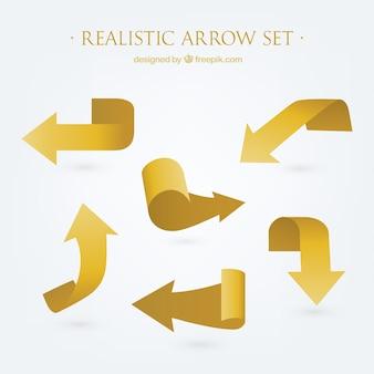 Ensemble de flèches d'or réalistes