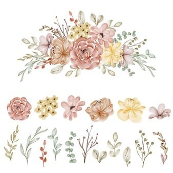 Ensemble de fleur et feuille automne isolé clipart