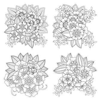 Ensemble de fleur de mehndi dans la page de livre de coloriage de style oriental ethnique