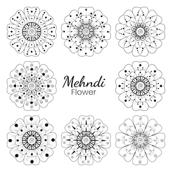 Ensemble de fleur de mehndi dans le style oriental ethnique doodle main dessiner illustration page de livre de coloriage