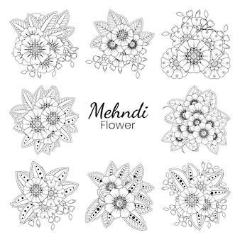 Ensemble de fleur de mehndi en style oriental ethnique doodle ornement contour main dessiner illustration livre de coloriage page