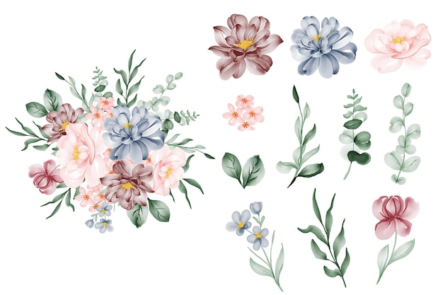Ensemble de fleur rose bleu et feuille isolé clip-art