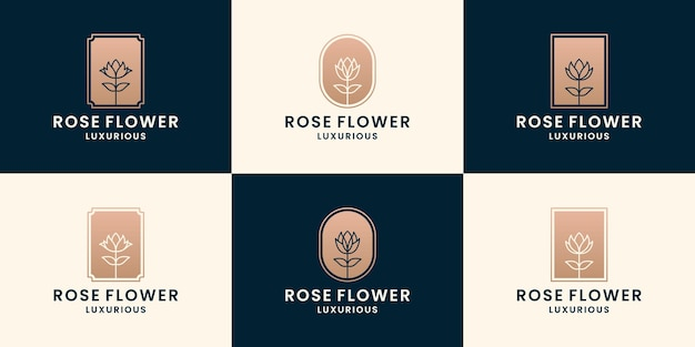 Ensemble de fleur rose, fleuriste, collections de création de logo de fleuriste de couleur dorée
