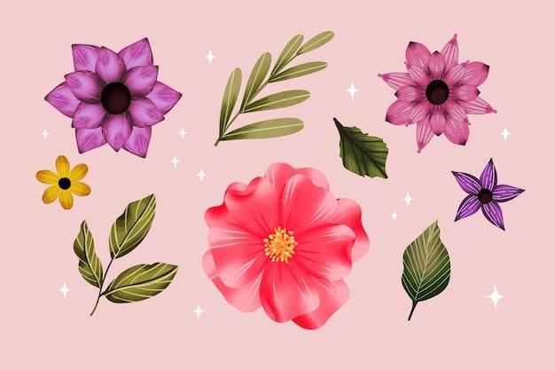 Ensemble de fleurs aquarelle peintes à la main