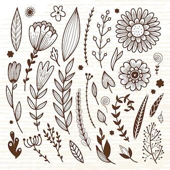 Ensemble de fleurs, brunchs et feuilles
