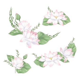 Ensemble de fleurs clipart numériques et bouquets de lotus et d'algues