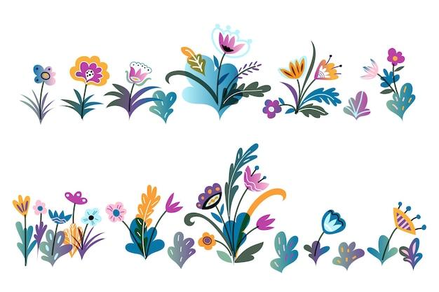 Ensemble de fleurs colorées au début du printemps sauvage et jardin