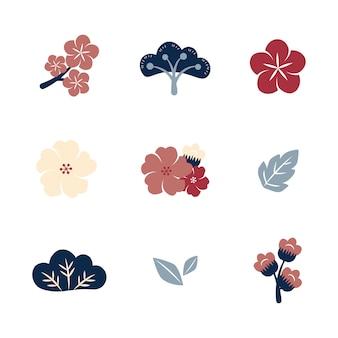 Ensemble de fleurs colorées
