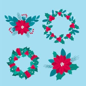 Ensemble de fleurs et couronnes de noël design plat