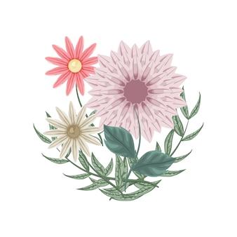 Ensemble de fleurs et de dahlias pour la décoration