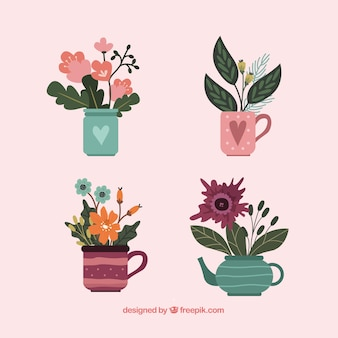 Ensemble de fleurs dans le style dessiné à la main