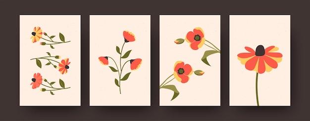 Ensemble de fleurs décoratives pastel sur cartes