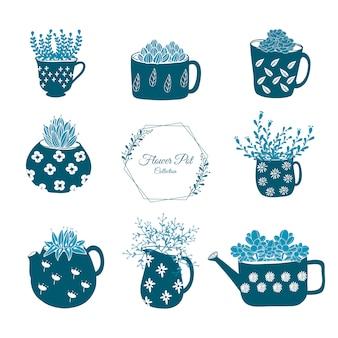 Ensemble de fleurs dessinées à la main dans l'illustration de pots.