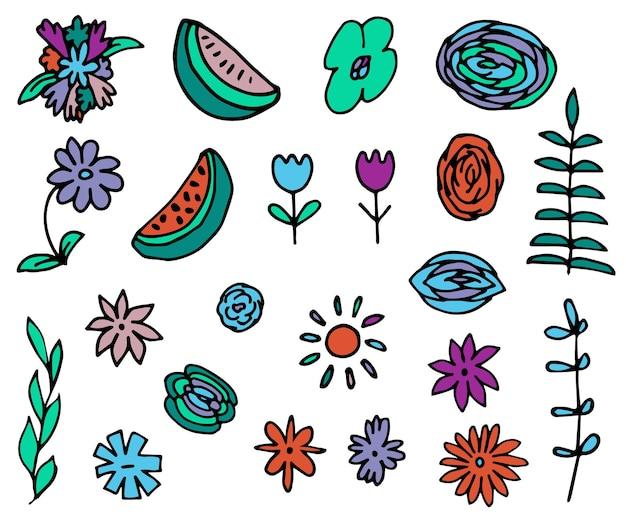 Ensemble de fleurs d'éléments d'été colorés et impression de conception de sites web de pastèque