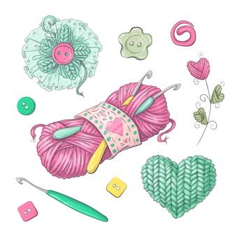 Ensemble de fleurs et d'éléments tricotés à la main