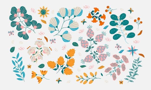 Ensemble de fleurs et de feuilles peintes abstraites