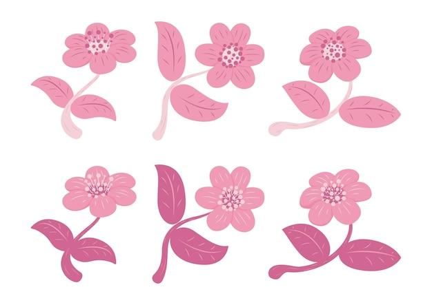 Ensemble de fleurs et de feuilles de style rétro isolé sur fond blanc. icône d'éléments floraux.