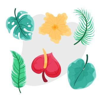 Ensemble De Fleurs Et De Feuilles Tropicales Vecteur gratuit