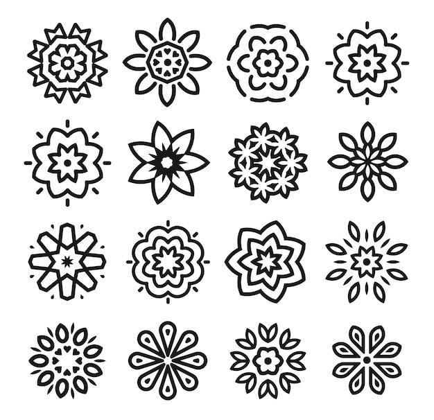 Ensemble de fleurs linéaires. collection d'art monochrome simple ligne. élément de design décoratif fleuriste.