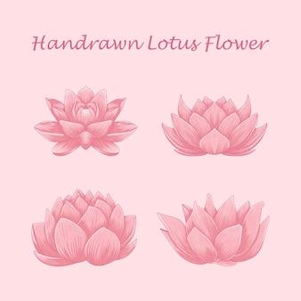 Ensemble de fleurs de lotus illustration dessinée à la main