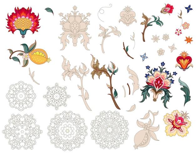 Ensemble de fleurs et de mandalas stylisés