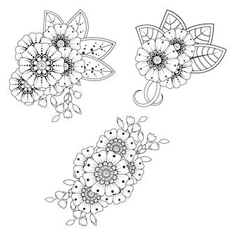 Ensemble de fleurs mehndi pour henné, mehndi, tatouage, décoration. ornement décoratif dans un style oriental ethnique. ornement de griffonnage. contour main dessiner illustration. page de livre de coloriage.