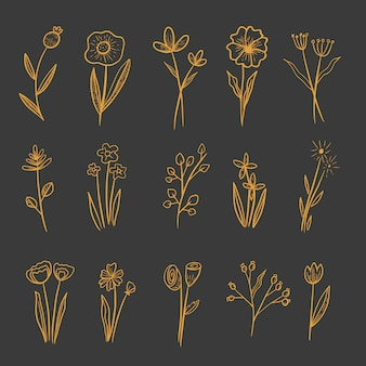Ensemble de fleurs ornement dessin doré