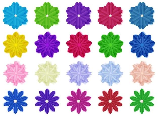Ensemble de fleurs en papier colorées avec des ombres, isolées