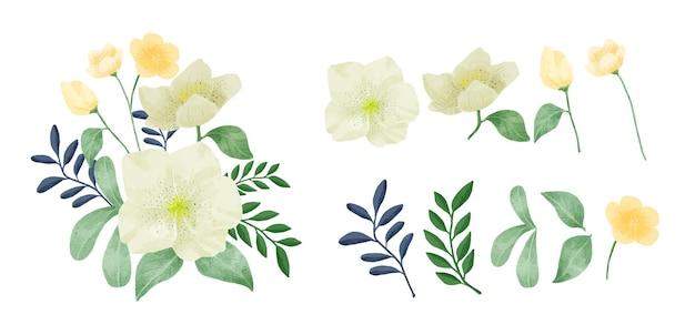 Un ensemble de fleurs peintes à l'aquarelle