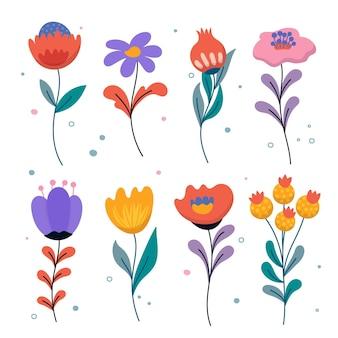 Ensemble de fleurs de printemps magnifique dessiné à la main