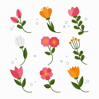 Ensemble de fleurs de printemps plat