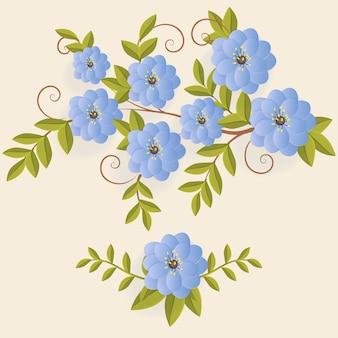 Ensemble de fleurs réalistes avec des feuilles