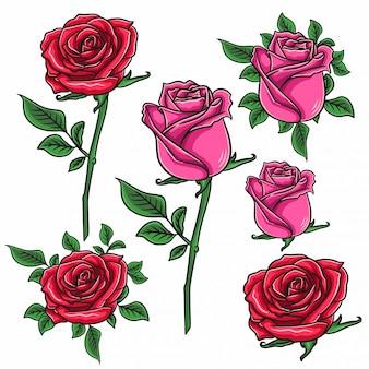 Ensemble de fleurs rose. décoration florale
