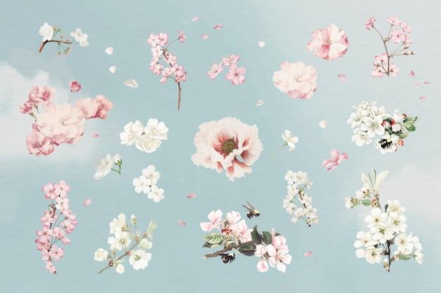 Ensemble de fleurs roses