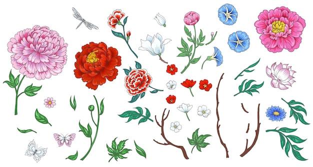 Ensemble de fleurs de style chinois