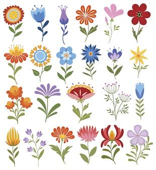 Ensemble de fleurs stylisées.