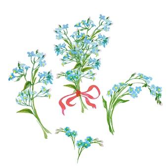 Ensemble de fleurs vectorielles collection florale colorée avec aquarelle myosotis printemps ou design d'été
