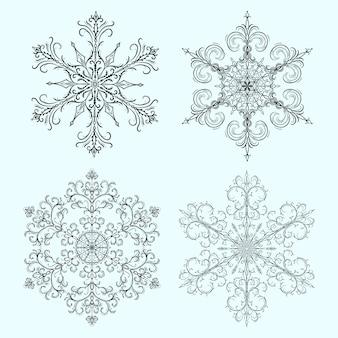 Ensemble de flocon de neige pour noël