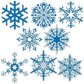 Ensemble de flocons de neige bleus